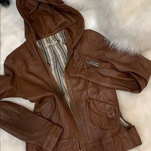Mike & Chris $$$ leather hooded jacket sz m